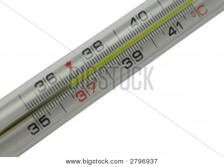 Mercurial Thermometer Scale (36,6) Isolated On A White Background (Over White)