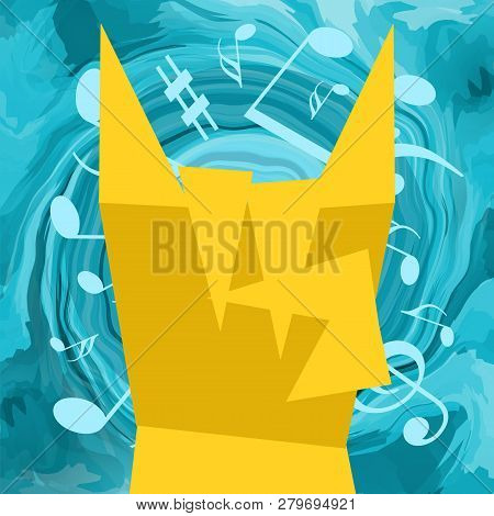 Rock Fan Listening Loud Heavy Music, Bright Musical Background With Notes And Water Wave