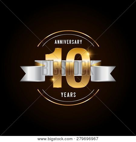 10 Years Anniversary Celebration Logotype. Golden Anniversary Emblem With Ribbon. Design For Booklet