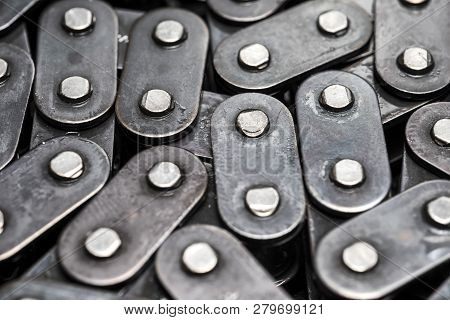 Metal Bicycle Chain Closeup. Car Oil Pump Circuit. Chain Links.
