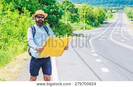 Orient Map Look In Certain Direction See Landmark Find. Expeditor Backpacker Map Look Orienteering D
