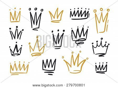 Bundle of drawings of crowns or coronets for king or queen. Symbols of monarchy, sovereign authority and power hand drawn with black and golden contour lines on white background. Vector illustration. poster