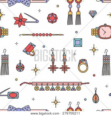 Seamless Pattern With Fashionable Jewelry, Bijouterie Or Trinkets On White Background - Earrings, Ne
