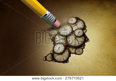 Time Planning Loss And Losing Memory Concept As A Group Of Clock Objects Shaped As A Human Head As A