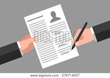 Model Release In One Hand, Another Hand Is Signing This Document As Witness