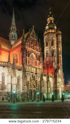 Scenic Nightscape Of St. Elisabeth Cathedral In Kosice, Slovakia