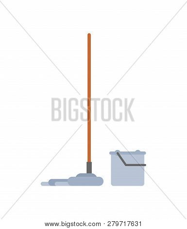 Mop And Bucket Isolated. Swob With Rag. Janitor Accessory