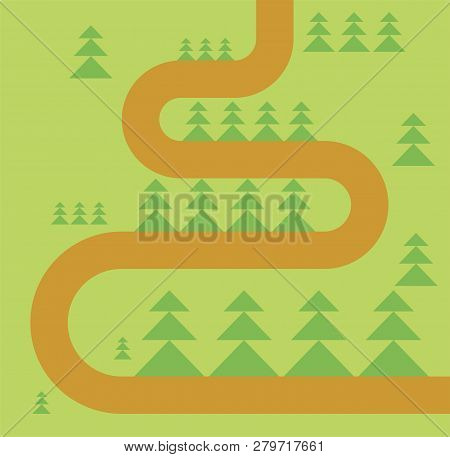 Road In Forest Map. Forest Footpath. Vector