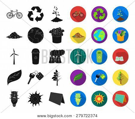 Bio And Ecology Black, Flat Icons In Set Collection For Design. An Ecologically Pure Product Vector