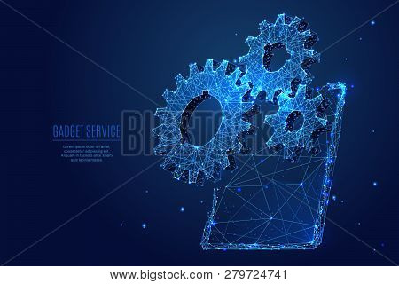 Gearing. Three Gears On Tablet Pc  Screen. Vector Low Poly Wireframe In The Form Of Starry Sky Or Sp