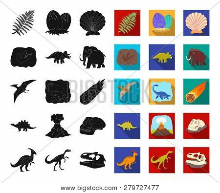 Different Dinosaurs Black, Flat Icons In Set Collection For Design. Prehistoric Animal Vector Symbol