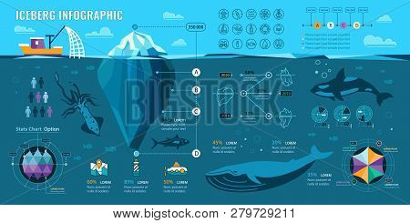 Iceberg And Underwater Infographics. Vector Flat Elements With Polygonal  Iceberg, Graphics And Icon