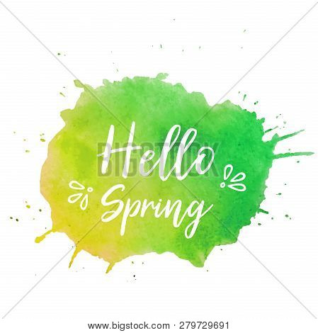 Hello Spring Text Plate Vector. Hello Spring Text Plate Vector, Background For Banner, Sale, Ad, Car