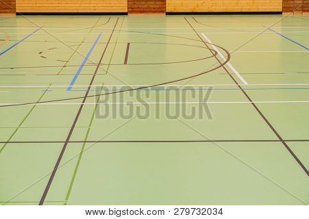 Handball Hall floor in a gymnasium with diverse lines poster