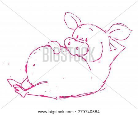 Funny Ping Pig Vector Illustration On White Background