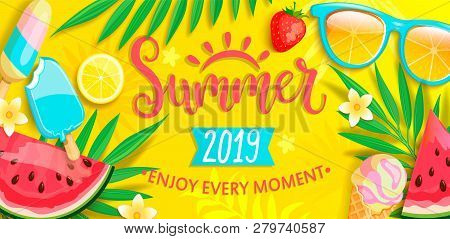 Summer Banner With Symbols For Summertime Such As Ice Cream, Watermelon, Strawberries, Glasses.hand
