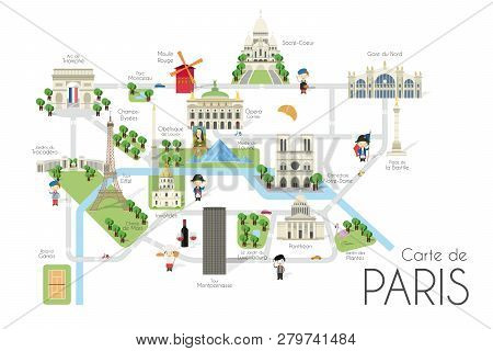 Cartoon Vector Map Of The City Of Paris, France. Travel Illustration With Landmarks And Main Attract