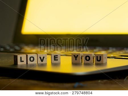 Close Up Of Laptop And Love Message In Stay Connected, Online Dating Or Shopping For Valentines Day