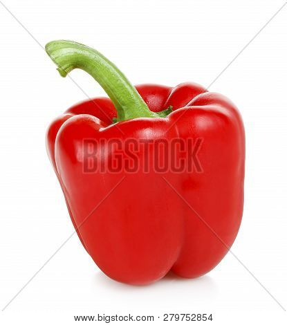 Single Red Bell Pepper Isolated On White