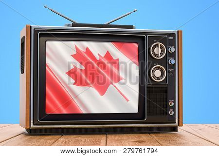 Canadian Television Concept, Tv Set On The Wooden Table. 3d Rendering