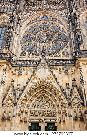 Details of the facade of the Metropolitan Cathedral of Saints Vitus, Wenceslaus and Adalbert in Prague poster