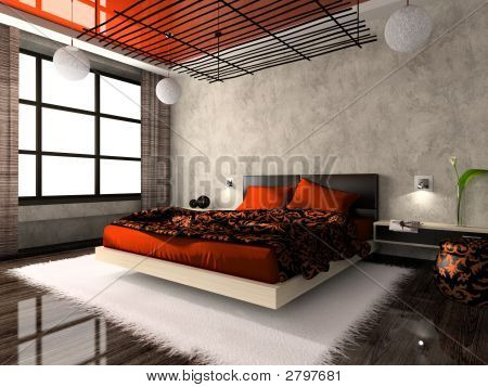 Luxurious interior of bedroom in red colour. poster