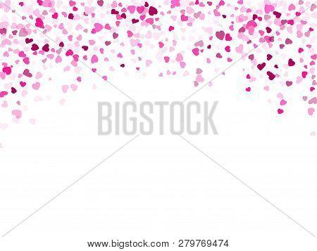 Crimson Hearts Confetti Frame Border Love Symbols Vector Background. Glorious Falling Hearts Isolate