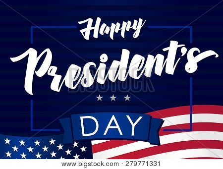 Lettering Presidents Day Greeting Card, Blue Striped Background And Flag Usa. Happy President`s Day