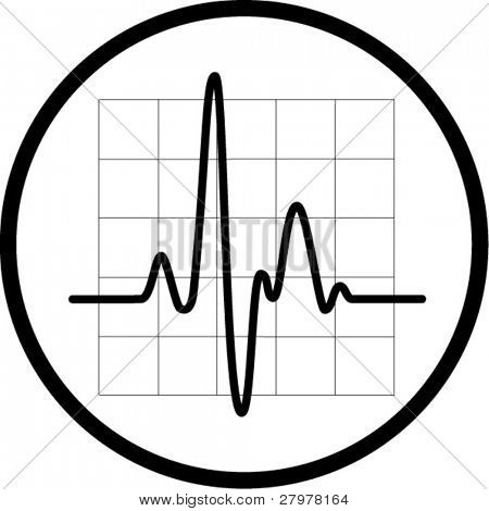 Vector cardiogram icon. Black and white. In my portfolio there is version 4 in 1.
