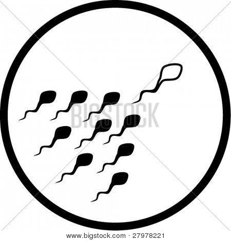 Vector spermatozoon icon. Black and white. Simply change. In my portfolio there is version 4 in 1.