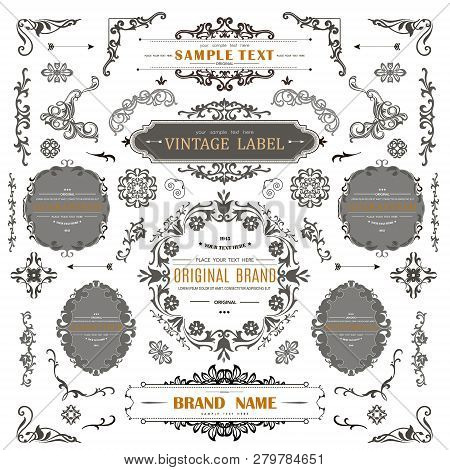 Set Of Vintage Decorations Elements.flourishes Calligraphic Ornaments And Frames With Place For Your