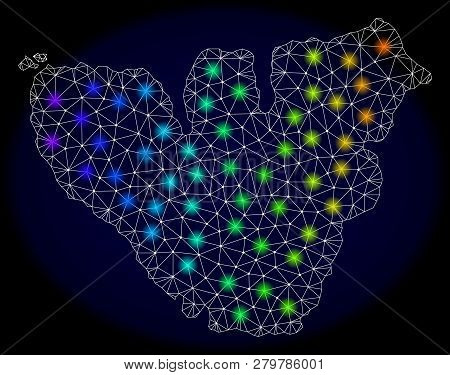 Mesh Vector Map Of Moorea Island With Glare Effect On A Dark Background. Light Spots Have Bright Rai
