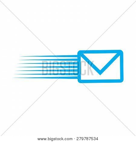 Fast Mail, Email, Sms Vector Icon, Email Icon. Fyling Envelope. Fast Delivery. Vector Illustration I