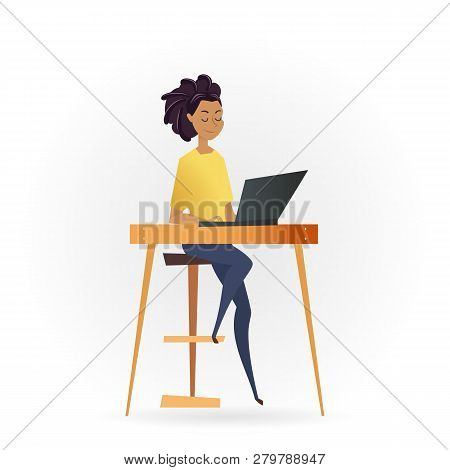 Freelancer Woman Working By Computer On Table. Successful Female Character Sitting On High Chair Or