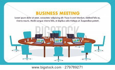 Flat Illustration Round Table For Business Meeting. Vector Banner Large Wooden Table With Laptop. Co