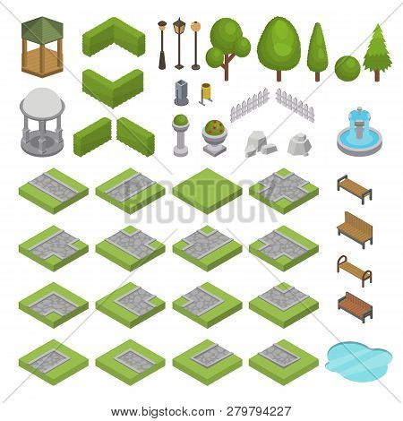 Park Vector Isometric Parkland With Green Garden Trees Grass And Bench Fountain Pond In City Illustr