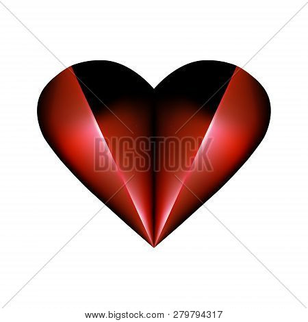 Abstract Folded Element For Valentines Day Design. Pleated Red Heart Icon Abstraction Smoldering In