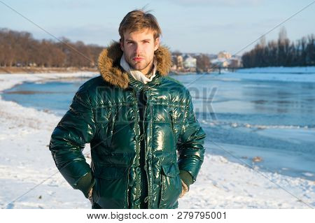 Happy Winter Holidays. Flu And Cold. Warm Clothes For Cold Season. Man Traveling In Winter, Nature.