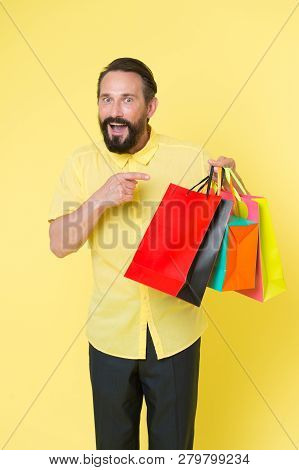 Real Happiness. Brutal Caucasian Hipster With Moustache. Shopping. Bearded Man With Shopping Bags. H