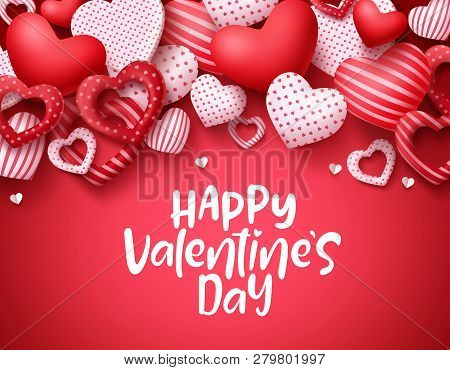 Valentines Day Vector Background. Happy Valentines Day Greeting Text With Hearts Elements In Red Bac