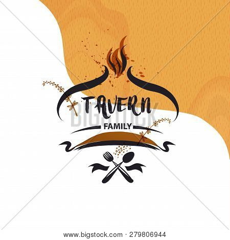 Family Tavern, Cafe Catering Service Logo. Concept Element Design Menu Restaurant. Vector Illustrati