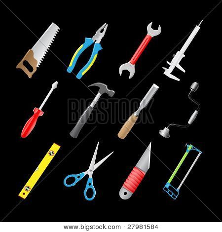 vector 3d icons of joiner's tools