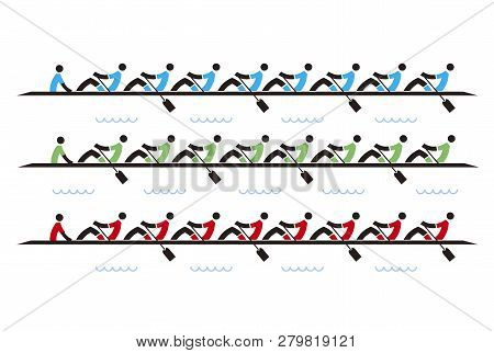 Rowing Race Eights, Icons. Stylized Illustration Of Rowers Competitors On White Background.vector Av