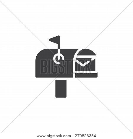 Open Mail Box With Envelope Vector Icon. Filled Flat Sign For Mobile Concept And Web Design. Mailbox