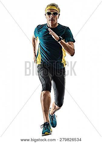 one caucasian senior man running runner jogger jogging  in studio shadow silhouette isolated on white background poster