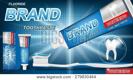 Mint Toothpaste Concept With Sparkling Effect On Blue Background. Product Package Design For Toothpa