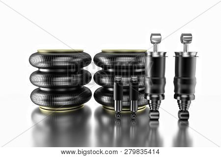 3d Rendering. Trucks Cabin Shock Absorber And Air Spring, New Auto Parts, Spare Parts Cabinedemper.
