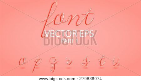 Hot Plastic 3d Typeset With Rounded Shapes. Font Set Of Painted Letters. Liquid Color Year Coral. Gl