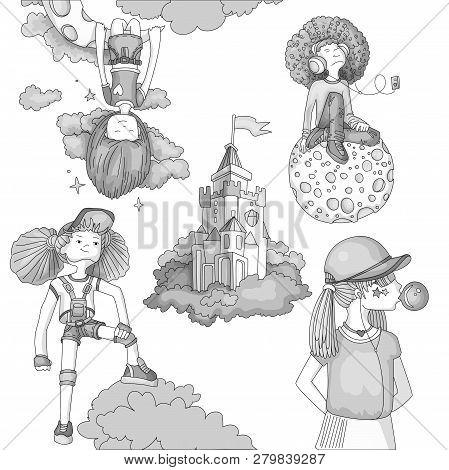 Grayscale Set Of Teenage Girl Icons, Cute Cartoon Teen Objects, Fun Stickers Design Vector In Teenag
