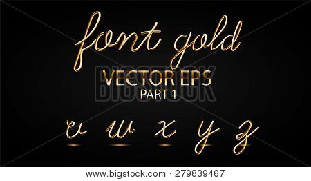 Gold 3d Typeset With Rounded Shapes. Font Set Of Painted Letters. Matte Liquid Colors 80s Ans 90s St